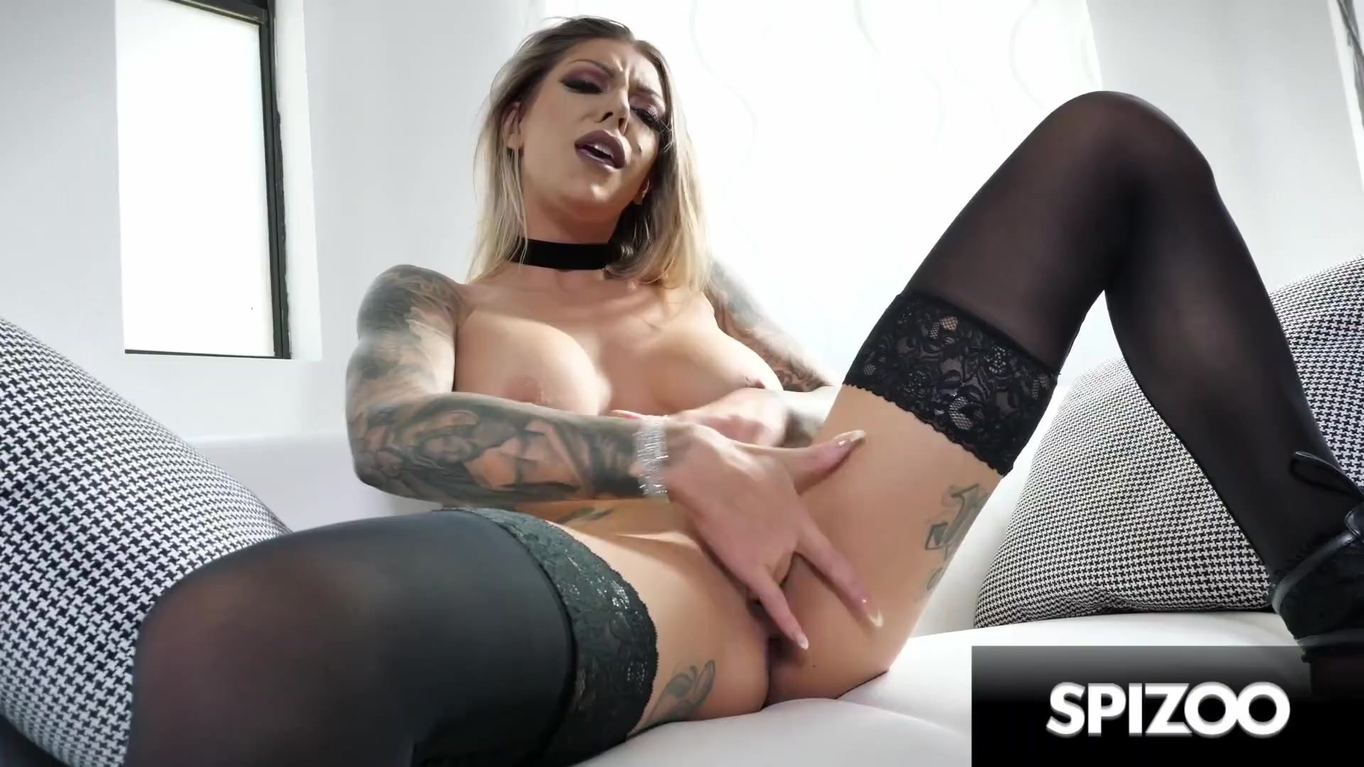 Stunning Karma Rx in Sexy Black Lingerie Masturbating for You