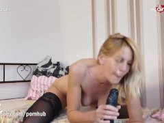 MyDirtyHobby – Big black dildo for blonde German MILF