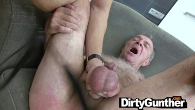 Perv Old Gunther Gets his Saggy Balls Busted