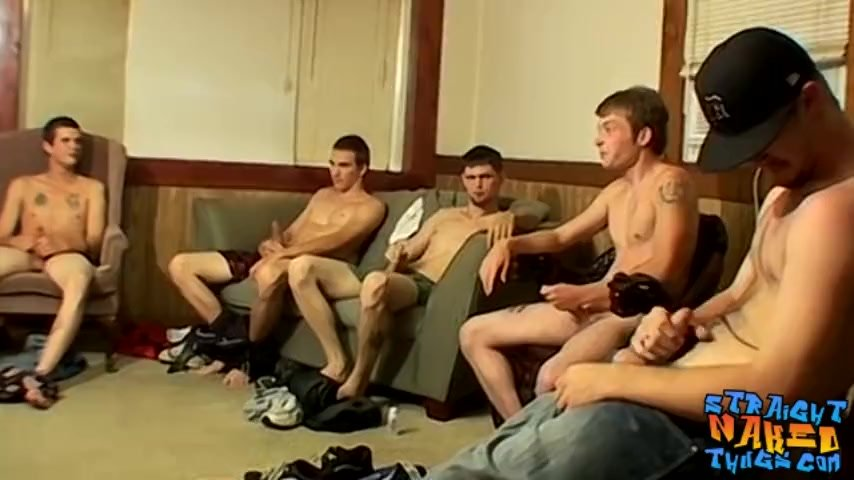 Group of guys has fun as they stroke their dicks together