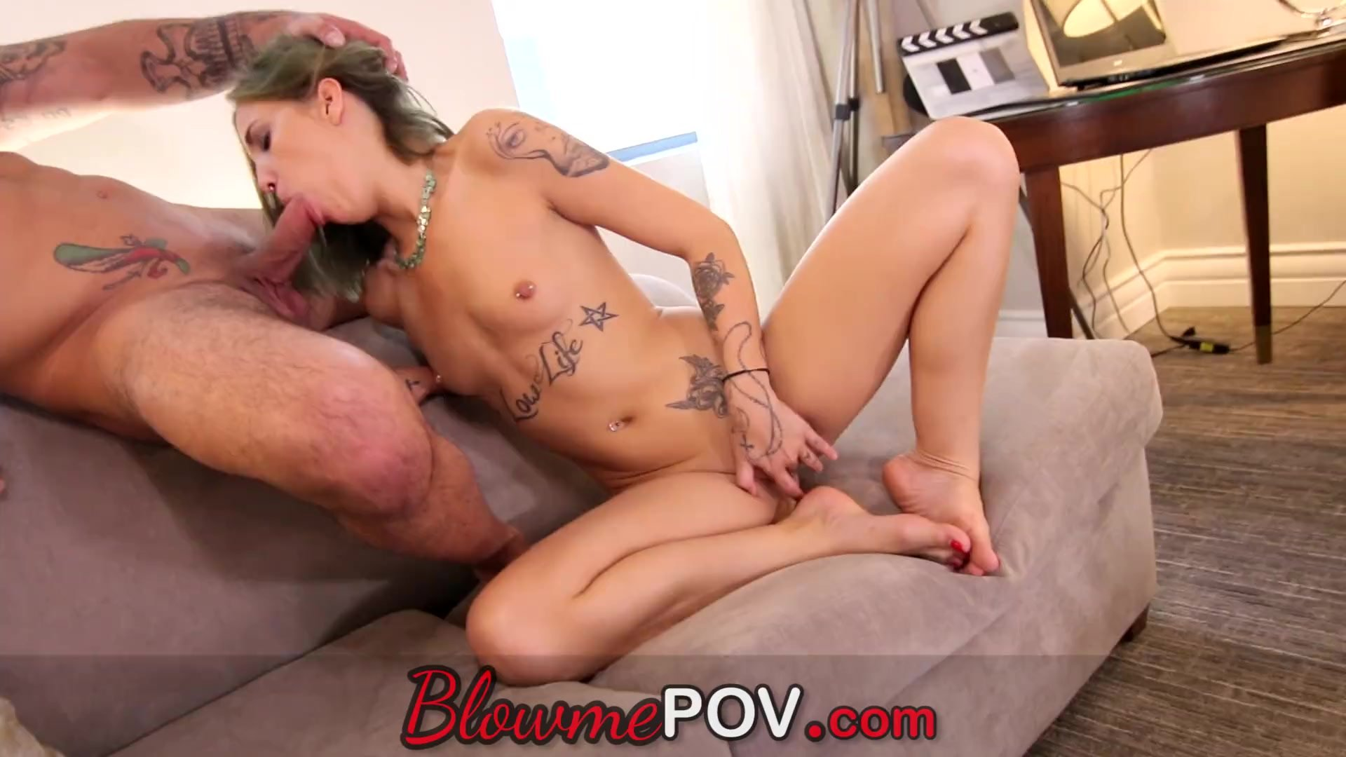 Blow me POV - This Inked Hoe Blows Like a Pro