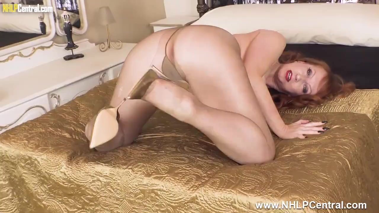 Hot Milf Red fingers and fucks big black dildo in torn pantyhose and heels