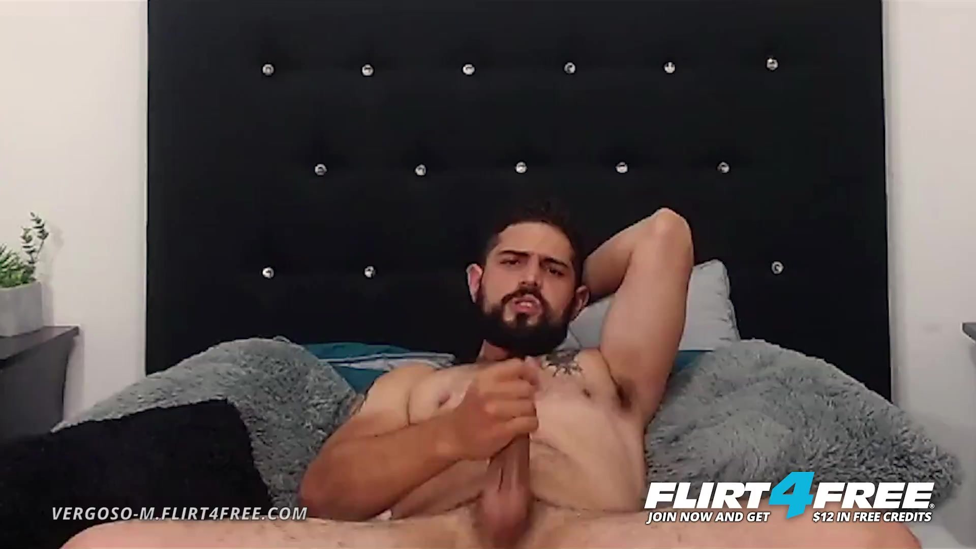 Vergoso M on Flirt4Free - Bearded Latino with Big Uncut Cock Blows His Load