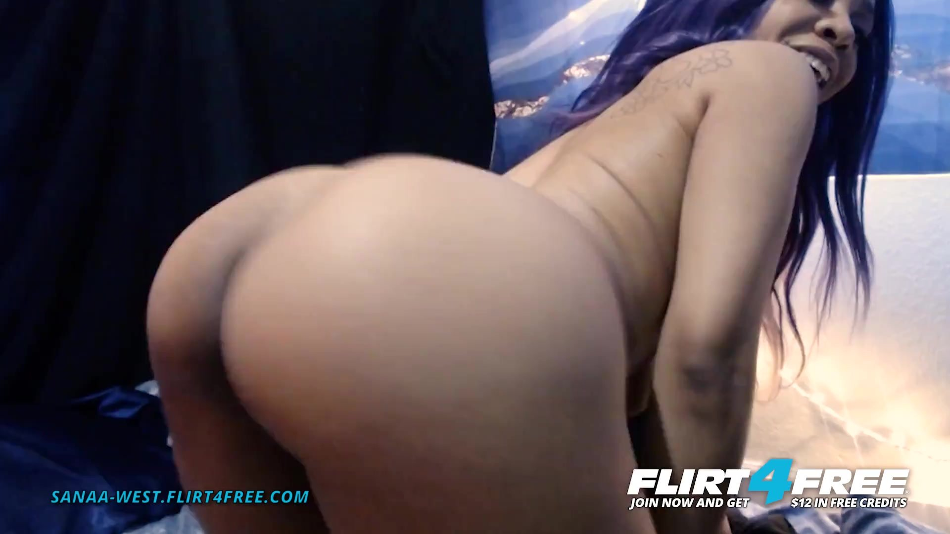 Sanaa West on Flirt4Free - Ebony Babe w Huge Tits Sucks Her Perfect Nipples