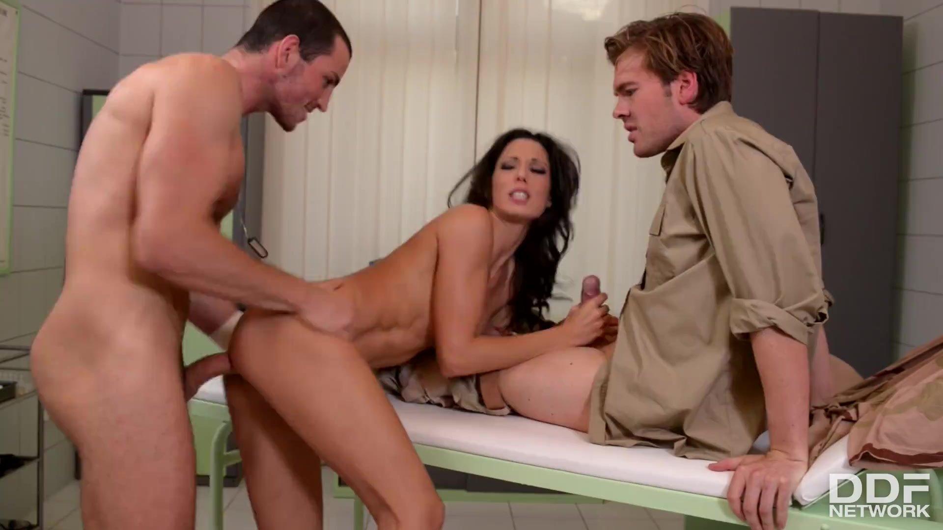 Hardcore anal sex threesome with Nurse Alexa Tomas's horny holes stretched