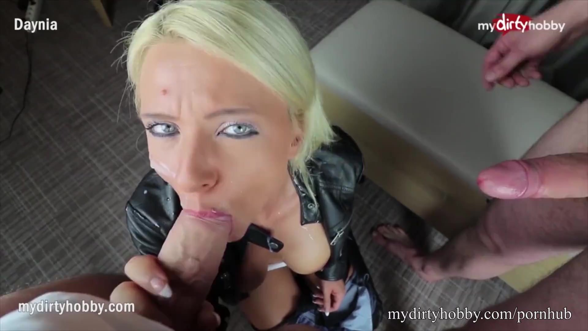 MyDirtyHobby - Hot busty blonde swallows two huge loads of cum after an anal FMM threesome