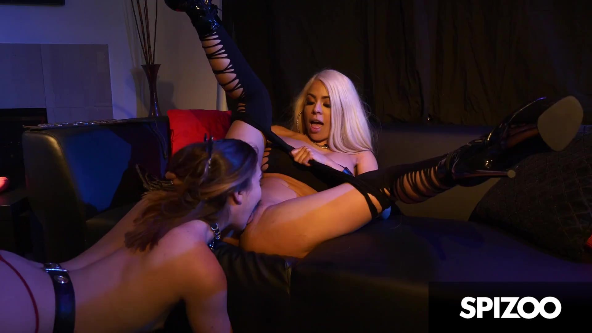Catsuit/dirty talk/in lesbian strap domination leather