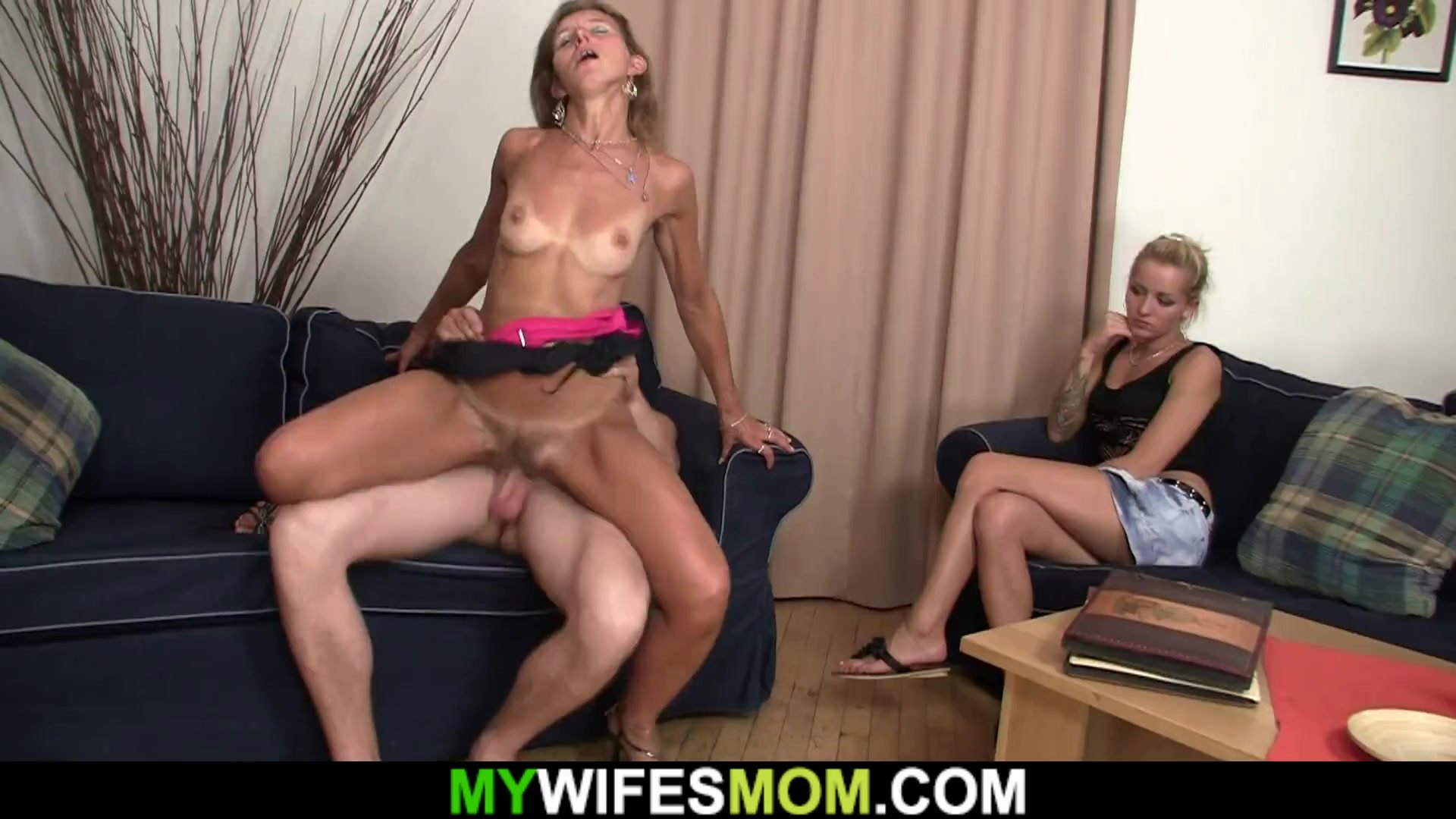 Wife watching her hairy old mom riding his cock