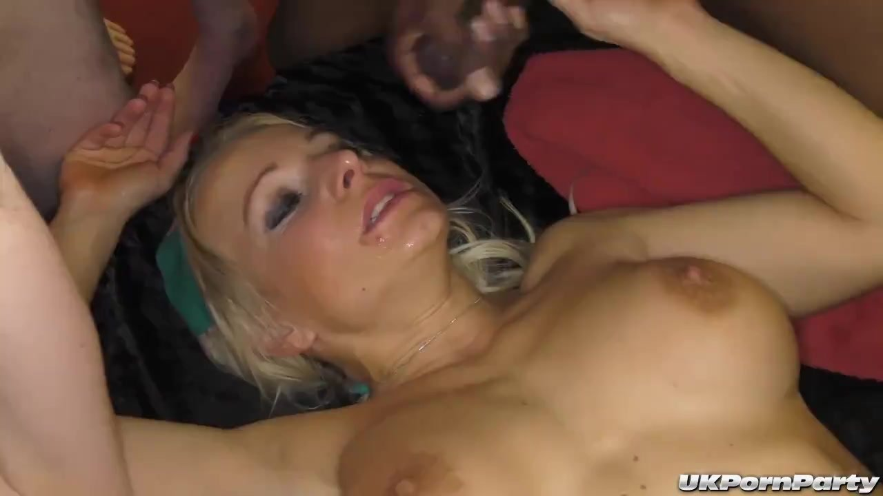 Hot British sluts get gangbang fucked and jizzed on