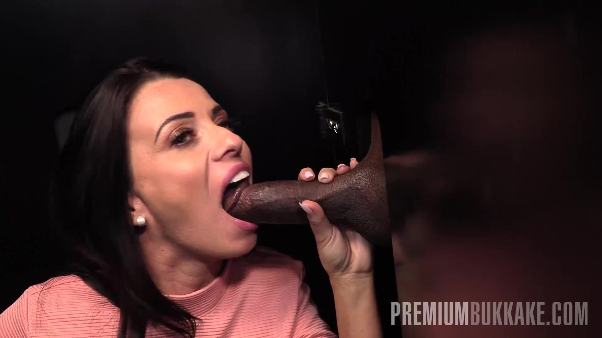 Premium Bukkake - Vicky Love swallows 25 cum loads in a gloryhole box