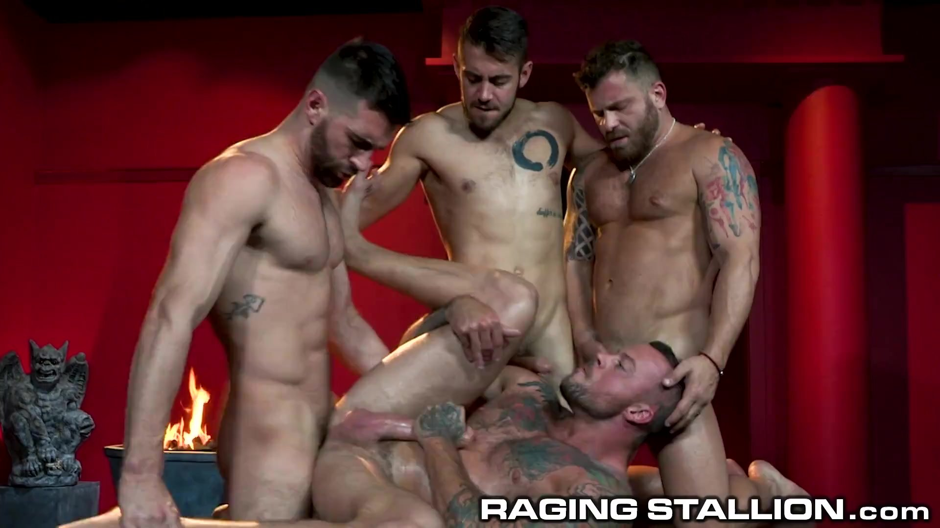 RagingStallion - Hot Orgy With 4 Muscle Hunks with Big Cocks