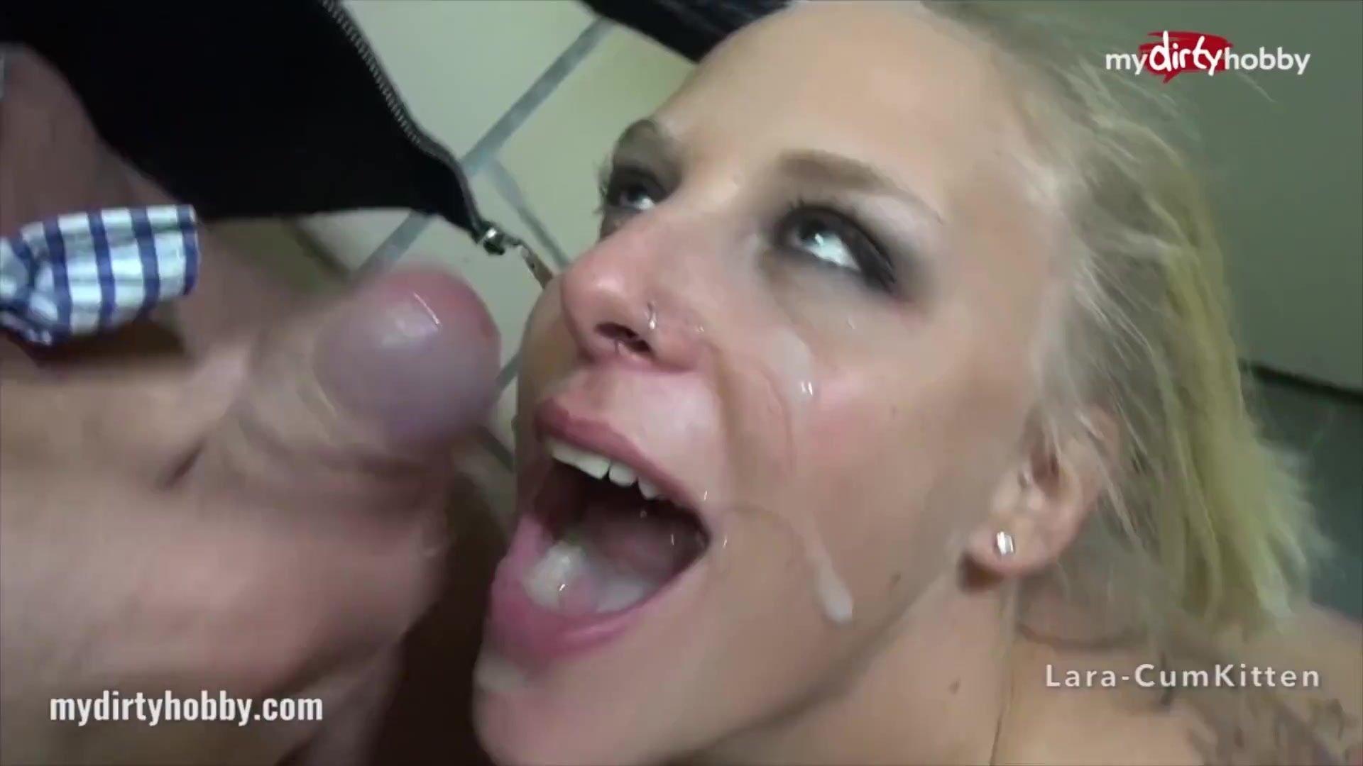MyDirtyHobby - Public bathroom fuck ends with a huge facial
