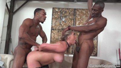 Kayley Gunner Has Threesome Sex With Big Black Dicks - Cuckold Sessions