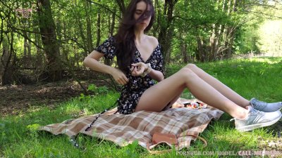 Fuck My Pussy with big Double Dildo on the Picnic